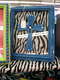 8X10 Upcycled Framed Painted wood cross with zebra by UpcycledDiva, $8.00