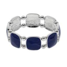 Blue+Cushion+Link+Stretch+Bracelet