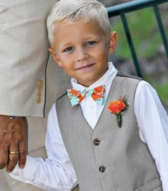 ring bearer orange and teal bow tie cute! Casual Wedding, Wedding Attire, Wedding Dresses, Bow Ties, Ring Bearer Outfit, Orange Wedding, Beautiful Children, Precious Children, Toddler Girls