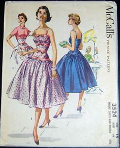 Vintage Original McCall's 50's Cocktail Dress/Bolero Pattern No. 3524