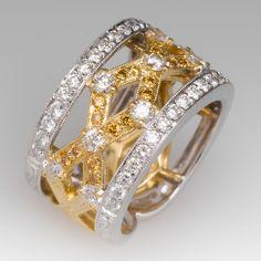 Simon G Wide Band Diamond Ring 18K Yellow & White Gold Wide Band Diamond Rings, Mens Diamond Jewelry, Ring Ring, Art Deco Jewelry, Jewelry Design, Designer Jewelry, Fine Jewelry, Jewellery, Bling Bling