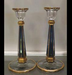 Pair Unusual Antique Blue & Gold Art Deco Heisey Glass Candlesticks