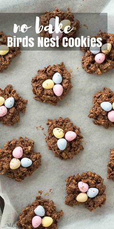 These No Bake Birds Nest Cookies are made with oats, corn flakes, mini eggs, peanut butter and are perfect for Easter or Spring! The kids will go nuts for them! Includes step by step recipe video | no bake cookies | peanut butter cookies | corn flake cookies | Easter candy