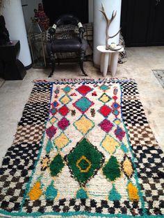 Vintage Moroccan rug  Boucherouite wool by BazaarLiving on Etsy, £300.00