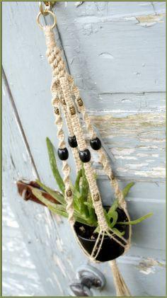 Black Cherry  Natural Hemp Macrame Plant Hanger by Macramaking, $15.00