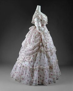 Warm Weather Day Dress of Sheer Printed Cotton and Delicate Lace Trim, French, c. 1872 (View 2)
