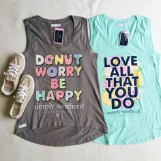 ec8d71c3e1290f Simply Southern Tanks - Donut Worry Be Happy - Love All That You Do. We