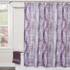 Sketchbook Waves Fabric Shower Curtain