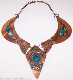 Steampunk Patina Copper Necklace Collar Choker Bib Modernist Turquoise Ethnic | eBay