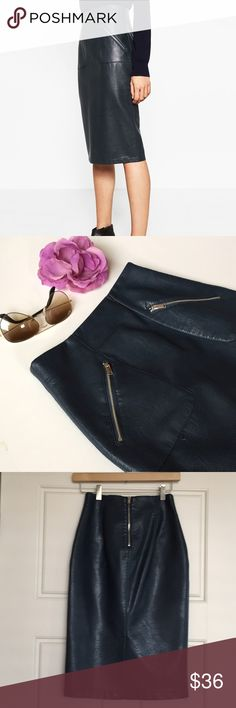 """ZARA Faux Leather Pencil Skirt XS Excellent condition, pristine. Gorgeous skirt, looks real. Figure flattering with zipper pocket detail. 25"""" length, 12"""" waist. Zara describes color as 'duck blue', I would describe it as a deep ocean blue. Non smoking, pet free home. Thanks for shopping my closet! Zara Skirts Midi"""