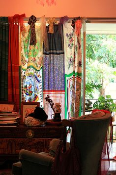 Scarf curtain by sacredheartarts, via Flickr