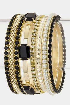 Jeweled Bangle Bracelets (Black/Gold) - $21