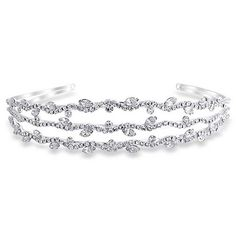 Bling Jewelry Triple Row Leaf Crystal Bridal Tiara Headband Silver Plated -- Check this awesome product by going to the link at the image.