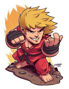 Chibi Ken Masters: Street Fighter by Laufman Cartoon Kunst, Comic Kunst, Cartoon Drawings, Cartoon Art, Comic Art, Ken Street Fighter, Street Fighter Characters, Street Fighter Comics, Flash Comics