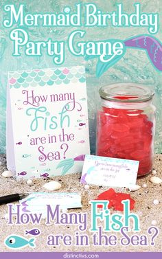 Mermaid How Many Fish in the Sea Game – Standing Sign and 30 Guessing Cards Mermaid Birthday Party Game. Mermaid Theme Birthday, Little Mermaid Birthday, Little Mermaid Parties, Mermaid Party Games, Princess Party Games, Beach Party Games, Sleepover Party, Lila Party, Engagement Party Games