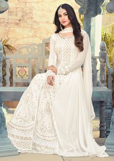 White and Off White color Salwar Kameez in Georgette fabric with Machine Embroidery, Moti, Resham, Sequence, Thread work Asian Wedding Dress Pakistani, Pakistani Outfits, Indian Outfits, Eid Outfits, Stylish Dresses For Girls, Casual Dresses, Fashion Dresses, Anarkali Dress, White Anarkali