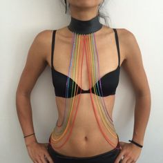 Rainbow Pride Body Chain leather choker necklace rave by LoveKhaos