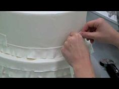 Need to do the ruffles going up instead of down like in the video. video tutorial - a different method for creating fondant ruffles on cakes Fondant Ruffles, Fondant Icing, Fondant Toppers, Fondant Cakes, Cupcake Cakes, Ruffle Cake, Car Cakes, Fondant Flowers, Fondant Figures