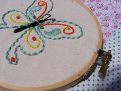Beginner Embroidery Kit Butterfly Pattern learn by agulhanaopica