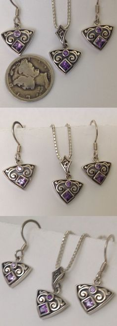 Sets 34071: Vintage Pendant, Chain, And Earrings Set W/Amethyst Cubic Zirconia, Konder #214 BUY IT NOW ONLY: $34.95