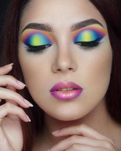 Neon Multicolor Makeup More #eyemakeupcrazy #makeup #makeupgoals #makeupartist - credits to the artist #amazingeyemakeup