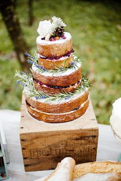 pretty naked cake on a sweet rustic 'cake stand'