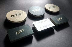 nino coasters and business cards : Offset printed in 2 colours and Blind Letterpress printed on the logo side and Letterpress printed on the text side on the business card.  Forme cut to shape and printed on Beer matt 390gsm card.  Designed by Emily Gillis.