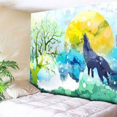Animal Wall Hanging Cartoon Wolf Tapestry