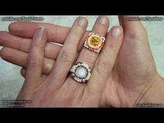 Beaded bezel tutorial: How to bezel a Swarovski square crystal - Beaded ring | Beading tutorial - YouTube
