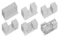 Design Drawings for Fukuoka Mutual Bank, Arata Isozaki, 1972-3. via thetriumphofpostmodernism on Tumblr