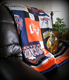 I need this! So bad! Denver Broncos T Shirt Quilt NFL Football Throw by MossReCreations, $150.00