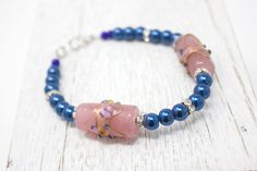 Blue Bracelet, Glass Pearl Jewelry, Deep Blue Pearl, Glass Pearl Bracelet, Lampwork Jewelry, Vintage Style by ZandrasJewelry on Etsy
