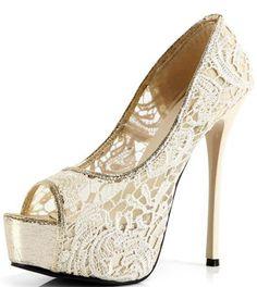 Beige Lace Platform Heels