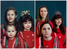 Merry Christmas, then and now. Family photo recreation.