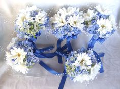 Wedding bouquets gerbera and blue by ChurchMouseCreations on Etsy, $225.00
