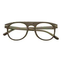 Clear Lens Designer Super Wood Like Round Flat Top Eyeglasses Frames R2140