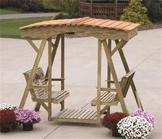 Amish Pine Outdoor Rose Double Lawn Glider Bench With Roof