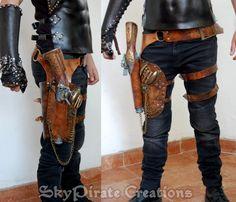 Steampunk Wasteland riem met pistool Holster door SkyPirateCreations