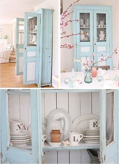 Im hunting for a kitchen hutch. This rustic baby blue one would be great in our cabinet-less kitchen.