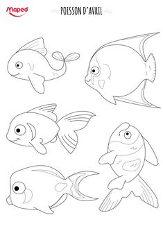 Poissons_2 Fish Coloring Page, Colouring Pages, Fish Drawings, Animal Drawings, Fish Template, Quiet Book Templates, Animal Templates, Ocean Crafts, Coastal Wall Art