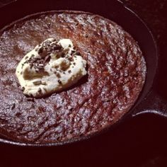Paleo'ish on a Dime: Dark Chocolate Pecan Brownie Skillet with Maple Cinnamon Ice Cream (Paleo / Vegan / Gluten-free / Dairy-free / Egg-free...