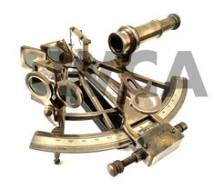 """""""Material : Brass, Finish : Antiquated Brass Mariners and surveyors used sextants to calculate latitude and longitude to navigate and explore Handmade replica! Size is 8\"""" inches approx. It can be used for measurements. Great table top item for office, home and a unique gift."""" Pocket Compass, Ring Bell, Nautical Marine, World Globes, Cannon, Leather Case, Solid Brass, Vintage Antiques, Unique Gifts"""