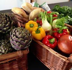 basket of veg ready for the cookery class