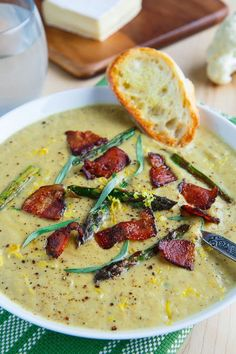 Creamy Roasted Asparagus and Brie Cauliflower Soup Topped with Bacon
