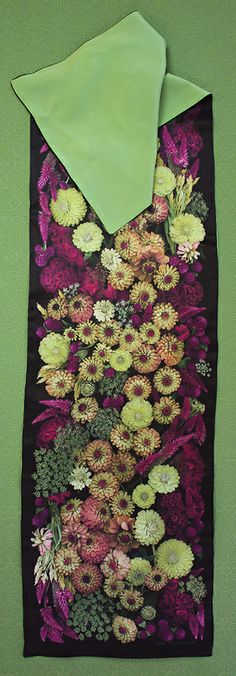 From my neighbor's garden... Scanner Photography By Ellen Hoverkamp — Lined Silk Zinnia and Celosia Scarf
