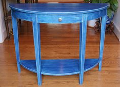 Demi-Lune Table-Painted in a combination of Provence and Napoleonic Blue Chalk Paint