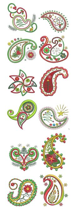 Embroidery | Free Machine Embroidery Designs | A Very Paisley Christmas  @Designs by JuJu