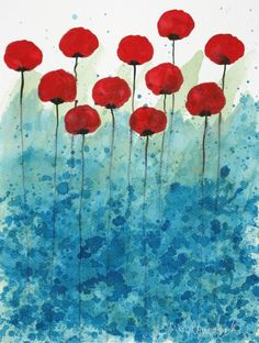 Items similar to Serendipity -- Red Flowers -- Original Watercolor Painting on Etsy Red Flowers, Red Poppies, Poppies Art, Watercolor Flowers, Watercolor Paintings, Remembrance Day Art, Art Plastique, Elementary Art, Art Lessons