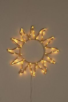 Shop Celestial Sun Light Sculpture at Urban Outfitters today. Yellow Room Decor, Cute Room Decor, Decoration Bedroom, Yellow Bedroom Decorations, Dorm Decorations, Bedroom Lighting, Hallway Lighting, Ceiling Lighting, Pendant Lighting