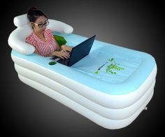 Bathtime anytime! This portable inflatable bathtub fills up for sudsing up in front of the TV, outside the RV, even on the lake. Because, yes, it also floats. And with a zip-up top cover to keep the water warm, built-in cup holder to keep you hy